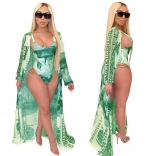 Green Long Sleeve Printed Dollars Women Beach Wear Dress