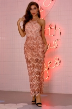 Pink Sleeveless Mesh Sequins Mesh Sexy Women Maxi Dress