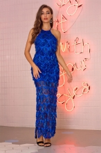 Blue Sleeveless Mesh Sequins Mesh Sexy Women Maxi Dress