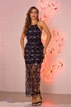 Black Sleeveless Mesh Sequins Mesh Sexy Women Maxi Dress