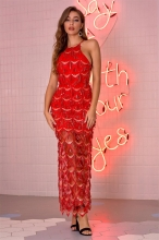 Red Sleeveless Mesh Sequins Mesh Sexy Women Maxi Dress