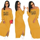 Yellow Long Sleeve Printed Fashion Women Long Dress