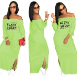 Green Long Sleeve Printed Fashion Women Long Dress
