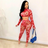Red Long Sleeve Printed O-Neck 2PCS Bodycon Jumpsuit