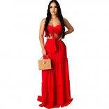 Red Sleeveless V-Neck Women Fashion Jersey Dress