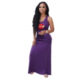 Purple Sleeveless Printed V-Neck Women Fashion Jersey Dress