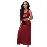 Red Sleeveless Printed V-Neck Women Fashion Jersey Dress