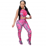 RoseRed Sleeveless Printed Mesh 2PCS Women Sexy Jumpsuit