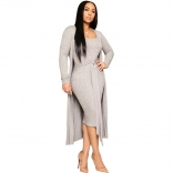 Grey Long Sleeve V-Neck Cottons Women Catsuit Dress