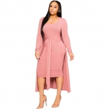 Pink Long Sleeve V-Neck Cottons Women Catsuit Dress