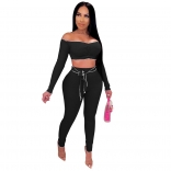Black Long Sleeve Off-Shoulder 2PCS Bodycons Jumpsuit