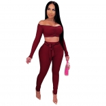 Red Long Sleeve Off-Shoulder 2PCS Bodycons Jumpsuit