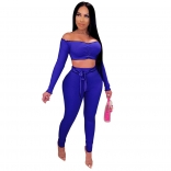 Blue Long Sleeve Off-Shoulder 2PCS Bodycons Jumpsuit
