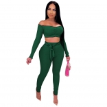 Green Long Sleeve Off-Shoulder 2PCS Bodycons Jumpsuit