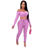 Purple Long Sleeve Off-Shoulder 2PCS Bodycons Jumpsuit
