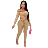 Khaki  Long Sleeve Off-Shoulder 2PCS Bodycons Jumpsuit