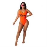 Orange Sleeveless Printed MIAMI Sexy Swimwear