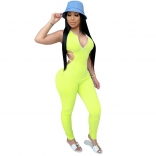 Green Zipper V-Neck Backless Women Bandage Sexy Jumpsuit