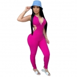 RoseRed Zipper V-Neck Backless Women Bandage Sexy Jumpsuit