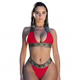 Red Printed Women Sexy Bikini