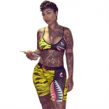Yellow Halter Sleeveless Printed Women Sexy Clubwear