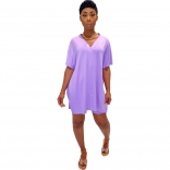 Purple Short Sleeve V-Neck 2PCS Women Skirt Sets