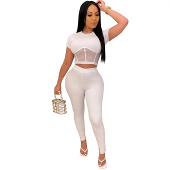 White Short Sleeve Mesh Hollow-out Sexy Jumpsuit