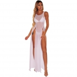 White Sleeveless Mesh Women Beach Dress
