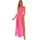 Pink Sleeveless Mesh Women Beach Dress