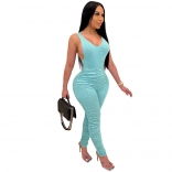 Blue Halter Low-Cut V-Neck Bodycons Sports Jumpsuit