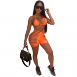 Orange Sexy Bandage Swimwear