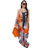 Orange Sleeveless Halter Printed Women Jersey Dress