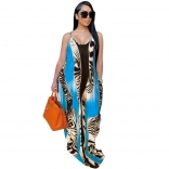 Blue Sleeveless Halter Printed Women Jersey Dress