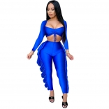 Blue Long Sleeve Low-Cut 2PCS Bodycon Foral Jumpsuit
