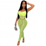 Green Sleeveless Low-Cut Halter Sexy Mesh Jumpsuit