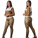 Coffee Printed Long Sleeve 2PCS Women Catsuit Dress
