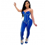 Blue Halter Low-Cut V-Neck Bodycons Sexy Jumpsuit