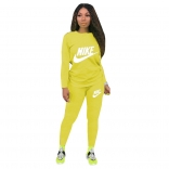 Yellow Long Sleeve O-Neck Printed 2PCS Sport Dress