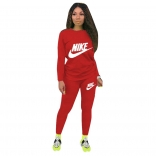 Red Long Sleeve O-Neck Printed 2PCS Sport Dress