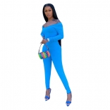 Blue Long Sleeve Low-Cut 2PCS Women Bodycons Dress