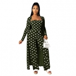 Green Long Sleeve Halter Printed Cotton Catsuit Dress