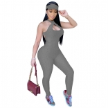 Grey Sleeveless Halter Bandage Bodycons Sexy Jumpsuit