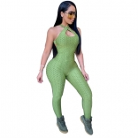 Green Sleeveless Halter Bandage Bodycons Sexy Jumpsuit