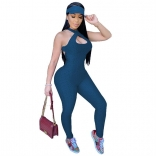 Blue Sleeveless Halter Bandage Bodycons Sexy Jumpsuit