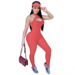 Orange Sleeveless Halter Bandage Bodycons Sexy Jumpsuit