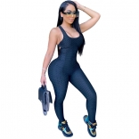 DarkBlue Sleeveless Halter Bandage Bodycons Sexy Jumpsuit