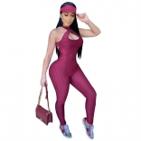 WineRed Sleeveless Halter Bandage Bodycons Sexy Jumpsuit