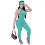 Light Green Sleeveless Halter Bandage Bodycons Sexy Jumpsuit