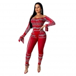 Red Long Sleeve Off-Shoulder Printed Jumpsuit With Pants