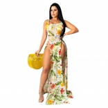 Yellow Halter Sleeveless Mesh Printed Slited Maxi Dress